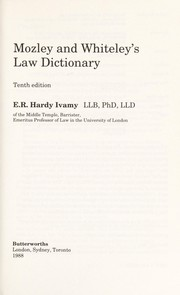 Cover of: Law dictionary | Herbert Newman Mozley