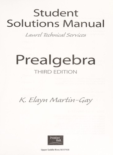 Student Solutions Manual by K. Elayn Martin-Gay