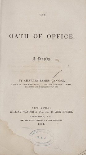 The oath of office by Charles James Cannon