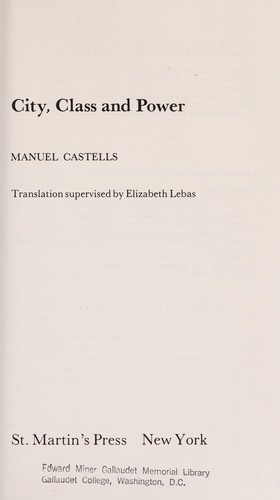 City, class, and power by Manuel Castells