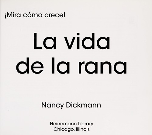 La vida de la rana by Nancy Dickmann