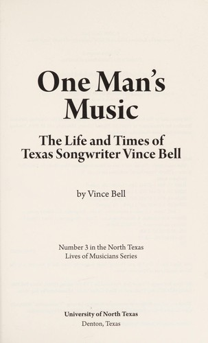 One man's music by Vince Bell