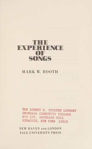The experience of songs by Mark W. Booth
