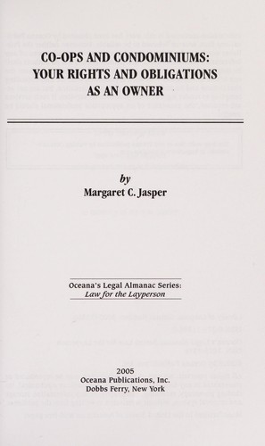 Co-ops and condominiums by Margaret C Jasper