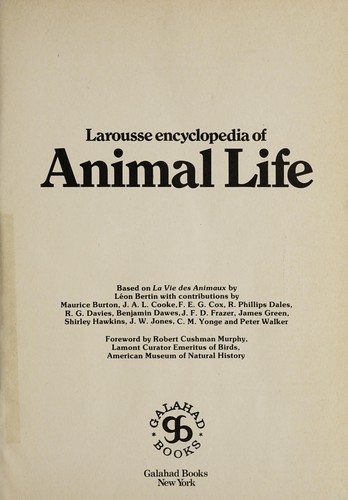 The Larousse Encyclopedia of Animal Life by New York.