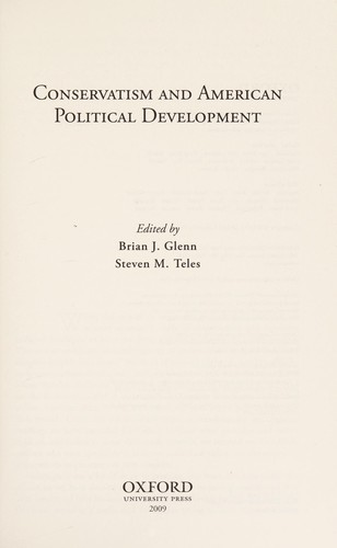 Conservatism and American political development by