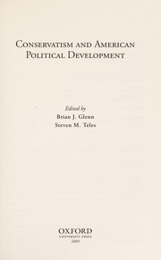 Cover of: Conservatism and American political development |