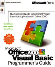 Cover of: Microsoft Office 2000/Visual Basic programmer's guide by David Shank
