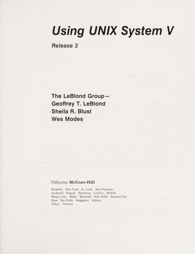Using Unix System V Release 3 by Geoffrey T. Leblond