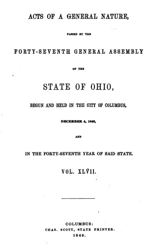 Acts of the State of Ohio by