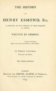 Cover of: History of Henry Esmond, Esq | William Makepeace Thackeray
