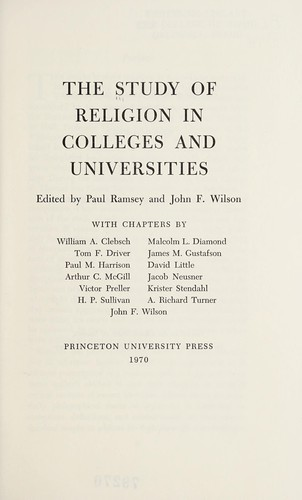 The Study of religion in colleges and universities by Paul Ramsey