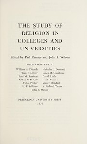 Cover of: The Study of religion in colleges and universities | Paul Ramsey