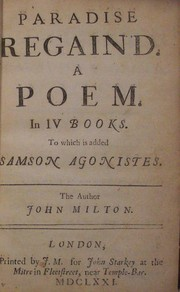Cover of: Paradise Regained | John Milton