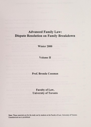 Advanced family law by Brenda Cossman