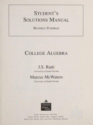 Student's solutions manual by Beverly Fusfield