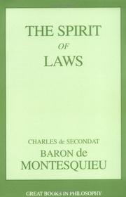 Cover of: De l'esprit des lois by Montesquieu, Charles de Secondat baron de