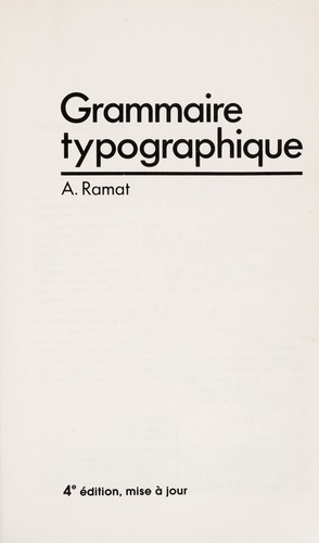 Grammaire typographique by A. Ramat