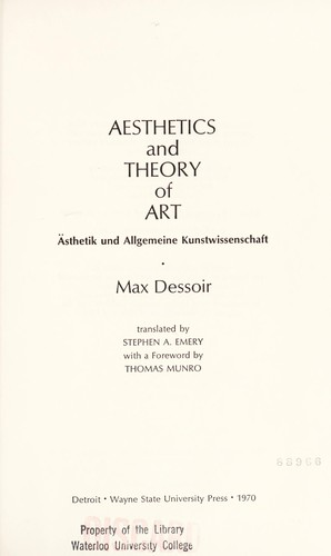 Aesthetics and theory of art by Max Dessoir