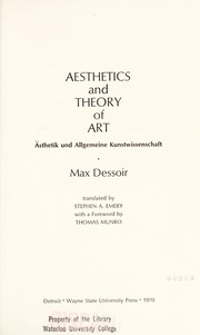 Cover of: Aesthetics and theory of art | Max Dessoir