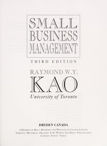 Small business management by Raymond W. Y. Kao