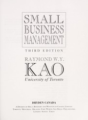 Cover of: Small business management | Raymond W. Y. Kao