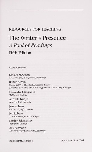 Resources for teaching The writer's presence-- a pool of essays, second edition by Donald McQuade, Robert Atwan