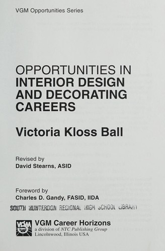 Opportunities in Interior Design and Decorating by Victoria Ball