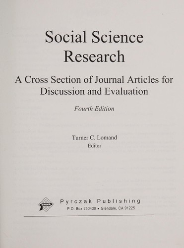 Social science research by Turner C. Lomand