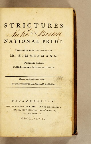 Strictures on national pride by Johann Georg Zimmermann