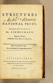 Cover of: Strictures on national pride | Johann Georg Zimmermann