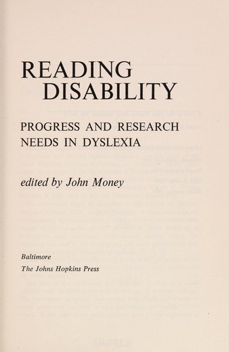Reading disability by John Money
