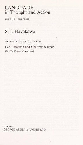 Language in thought and action by S. I. Hayakawa