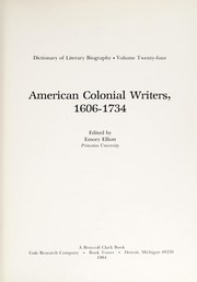 Cover of: American colonial writers, 1606-1734 | Emory Elliott