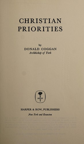 Christian priorities by Donald Coggan