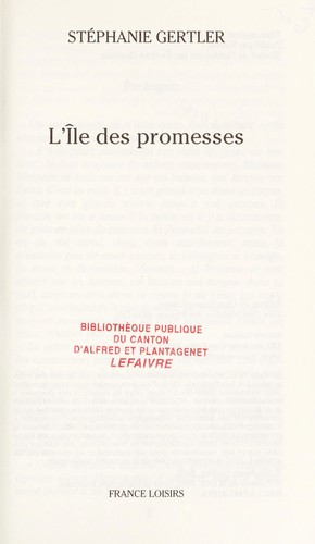 L'île des promesses by Stephanie Gertler