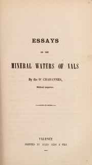 Cover of: Essays on the mineral waters of Vals | Chabannes Dr