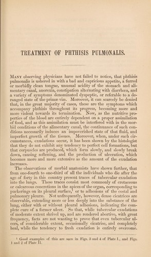 Observations on the treatment of phthisis pulmonalis by John Hughes Bennett