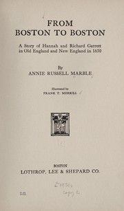 Cover of: From Boston to Boston | Annie Russell Marble