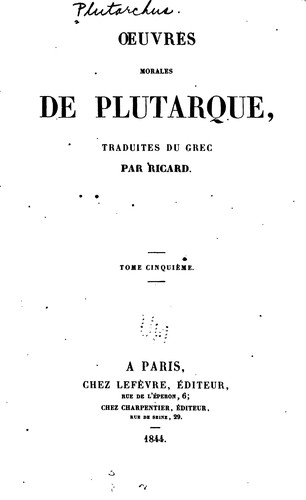 Oeuvres morales de Plutarque by Plutarch