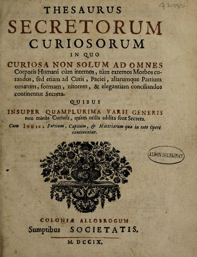Thesaurus secretorum curiosorum by