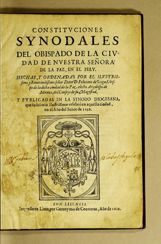 Constituciones synodales by Catholic Church. Diocese of La Paz (Bolivia)