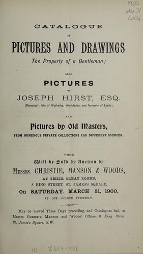 Catalogue of pictures and drawings by Christie, Manson & Woods