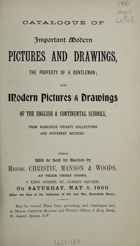 Catalogue of important modern pictures and drawings by Christie, Manson & Woods