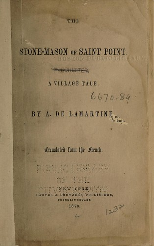 The stone-mason of Saint Point by Alphonse de Lamartine