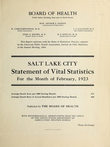 Salt Lake City statement of vital statistics for the month of Feb., Aug., 1923 by Salt Lake City (Utah). Board of Health