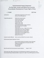 Cover of: Clark, Lincoln, and White Pine Counties groundwater development project final environmental impact statement | United States. Bureau of Land Management. Nevada State Office