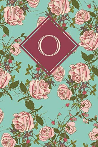 O: Monogrammed blank lined journal: Beautiful and classic: Ornate mint green and pink rose design by Vintage Lettering Stationery