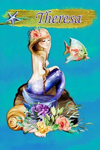 Heavenly Mermaid Theresa: Wide Ruled | Composition Book | Diary | Lined Journal by Lacy Swimmer