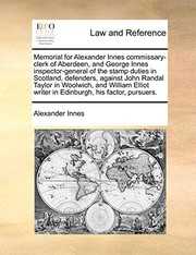 Cover of: Memorial for Alexander Innes commissary-clerk of Aberdeen, and George Innes inspector-general of the stamp duties in Scotland, defenders, against John ... writer in Edinburgh, his factor, pursuers. | Alexander Innes